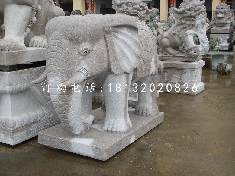 青石大象雕塑石雕招财大象