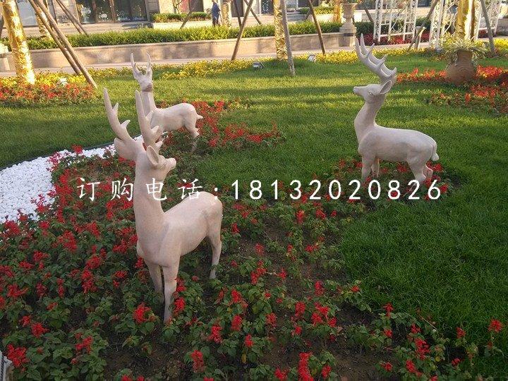 晚霞红小鹿石雕小区动物雕塑