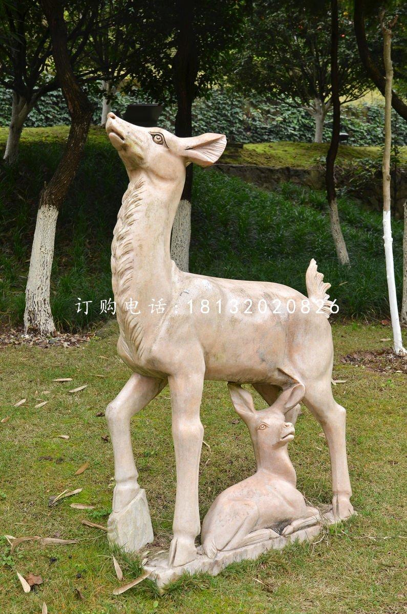 晚霞红母子小鹿公园动物石雕