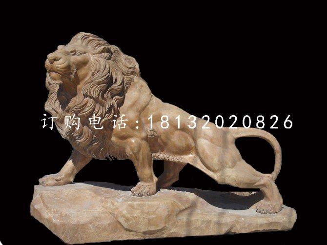 晚霞红动物石雕广场狮子雕塑