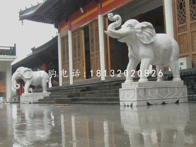 大象石雕寺庙动物雕塑