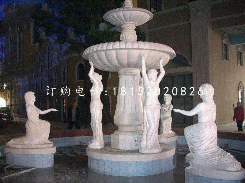 欧式人物喷泉双层喷泉石雕