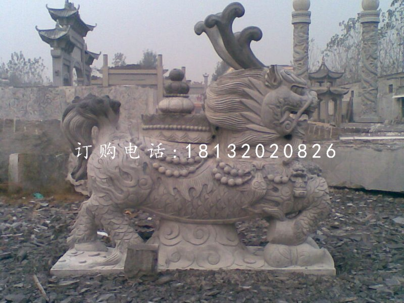 青石麒麟雕塑寺庙神兽石雕