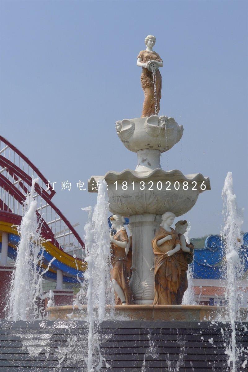 西方人物喷泉雕塑欧式喷泉石雕