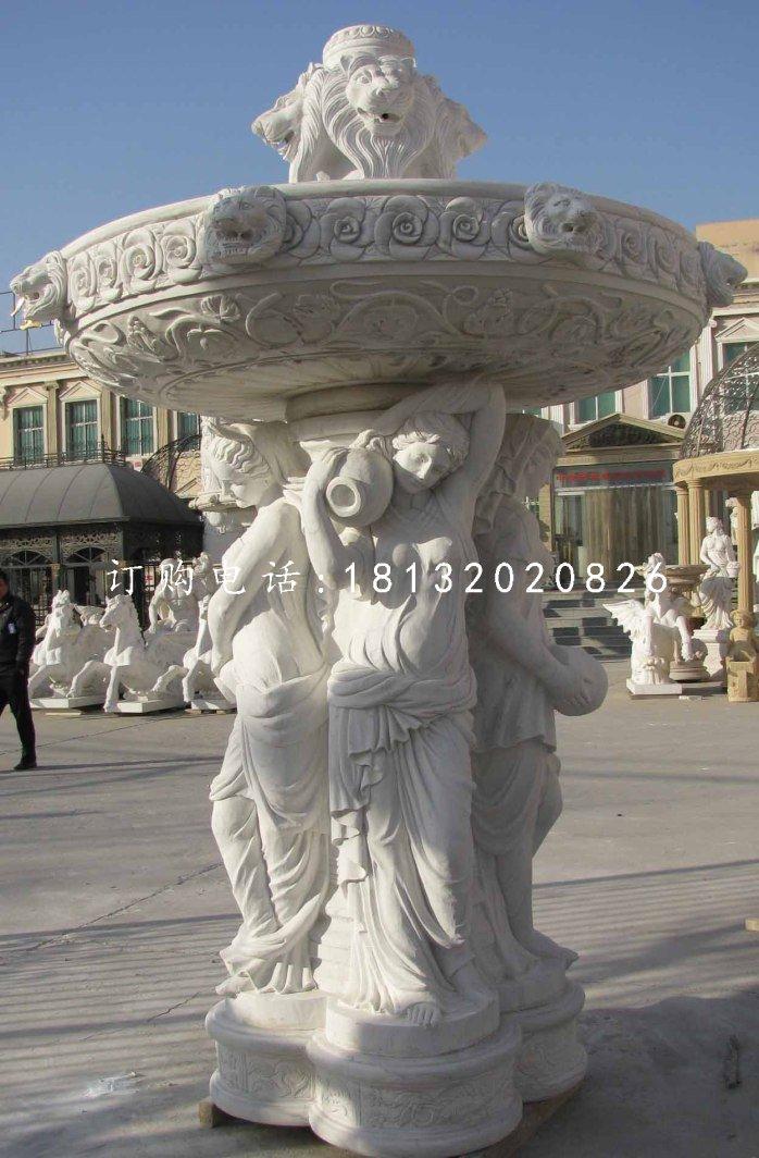 西方人物石喷泉汉白玉喷泉石雕