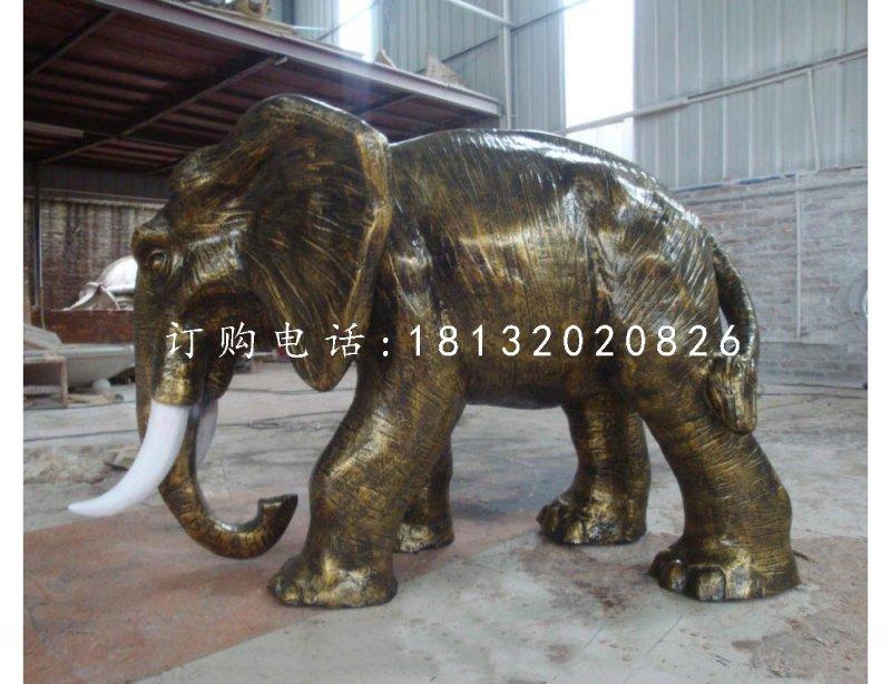 玻璃钢动物雕塑仿铜大象