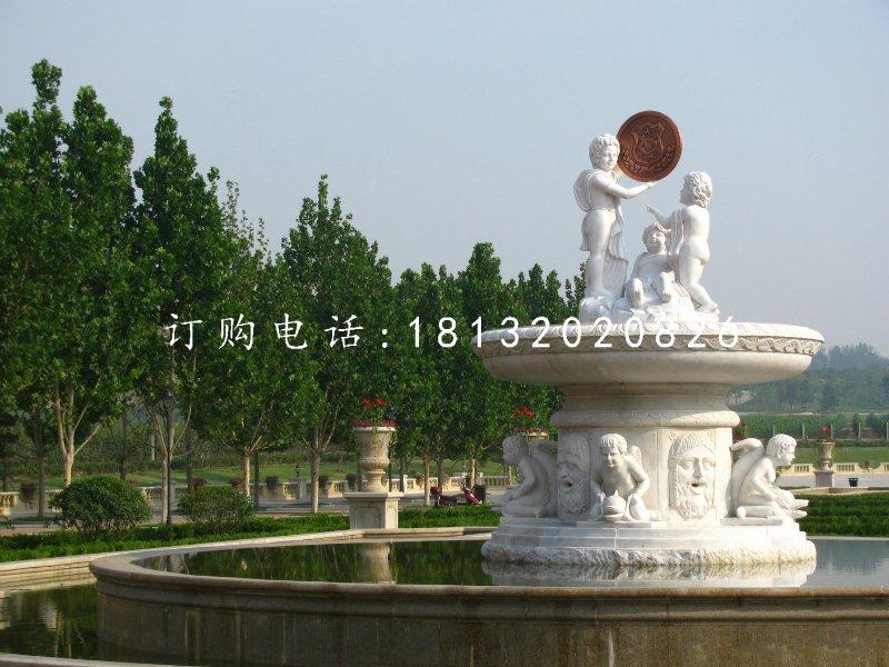 汉白玉喷泉,西方人物石喷泉