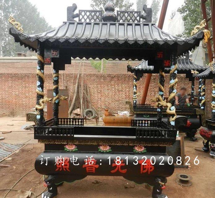 方形铁香炉雕塑,寺庙铁香炉雕塑