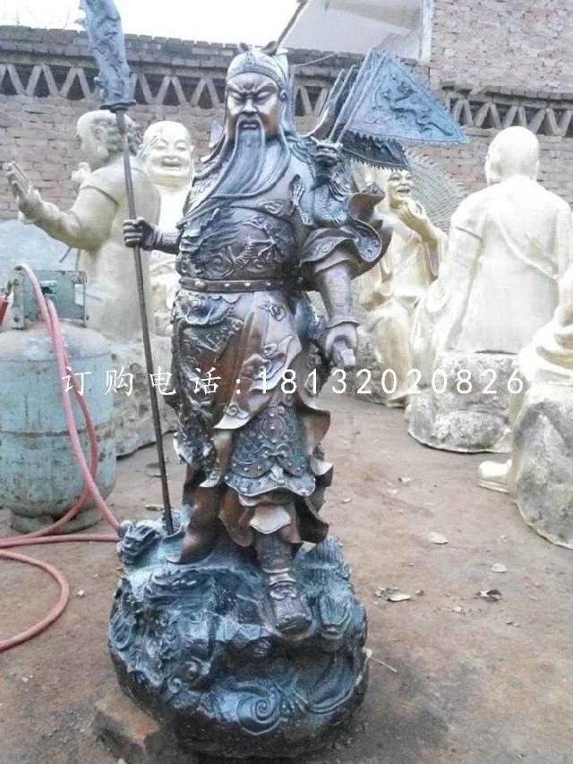 关公持刀雕塑,武圣人铜雕