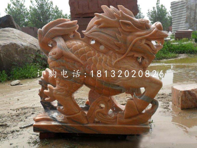 古代神兽石雕,晚霞红麒麟雕塑