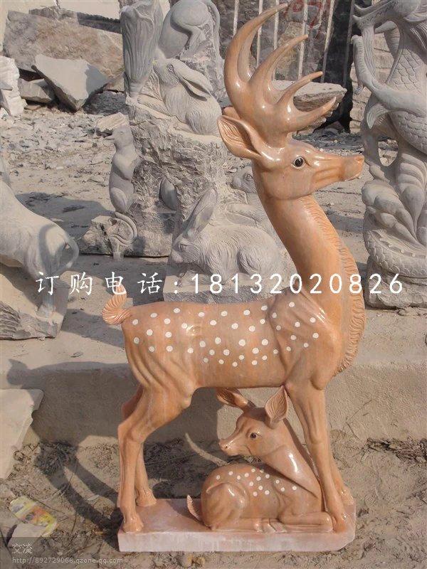 梅花鹿石雕,晚霞红母子鹿石雕