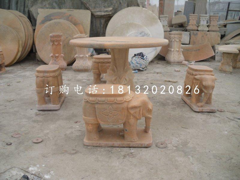 象凳石雕,晚霞红桌椅