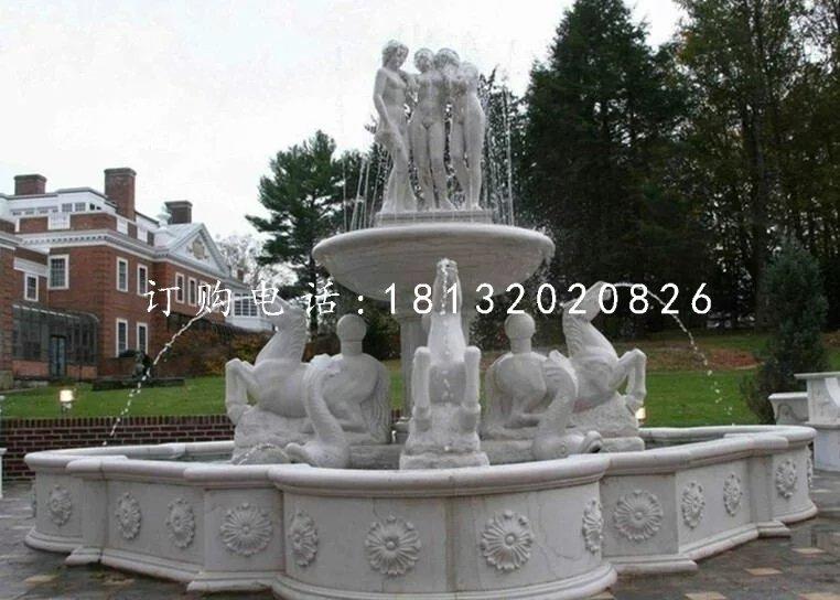 公园石喷泉,公园西方人物喷泉雕塑