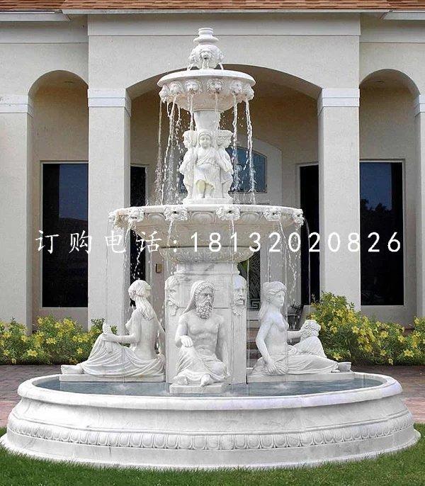 石雕喷泉,别墅汉白玉欧式喷泉