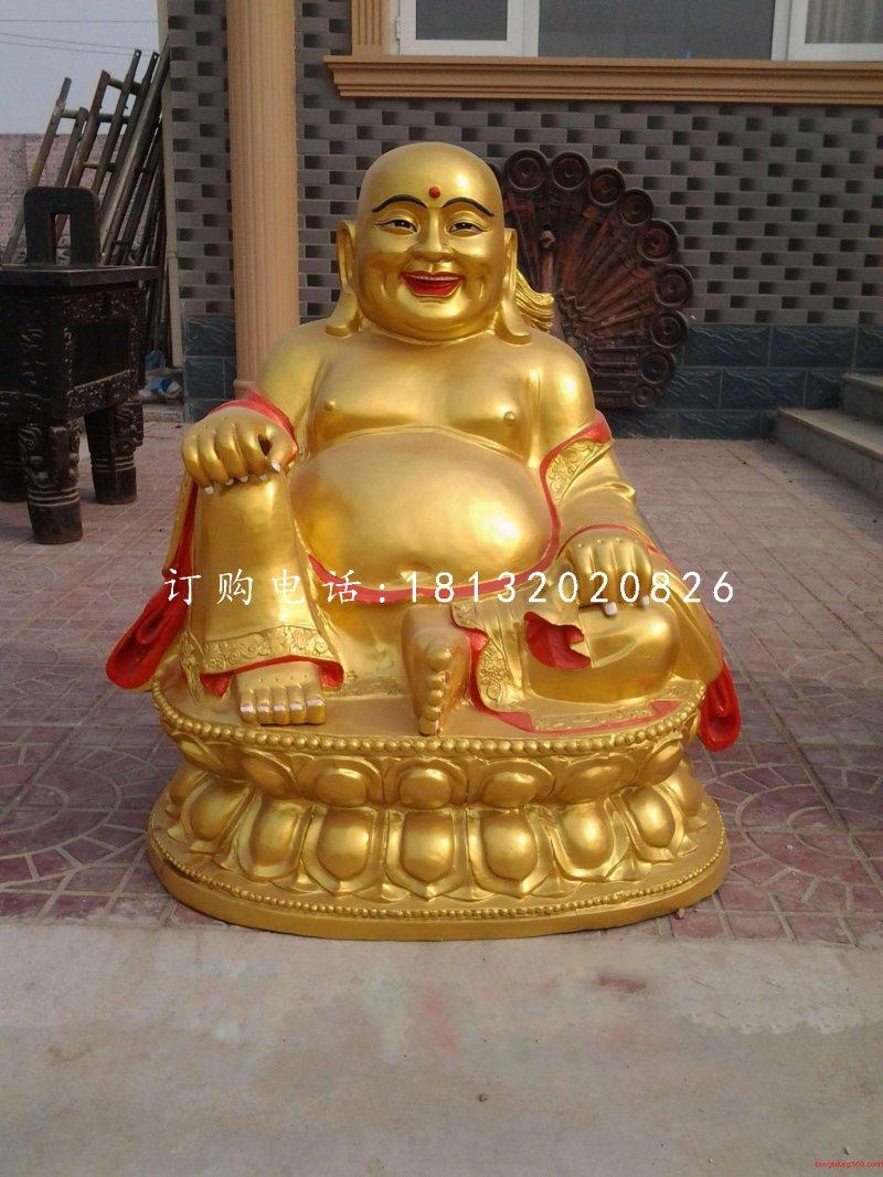 坐式弥勒佛雕塑,铜雕彩绘佛像