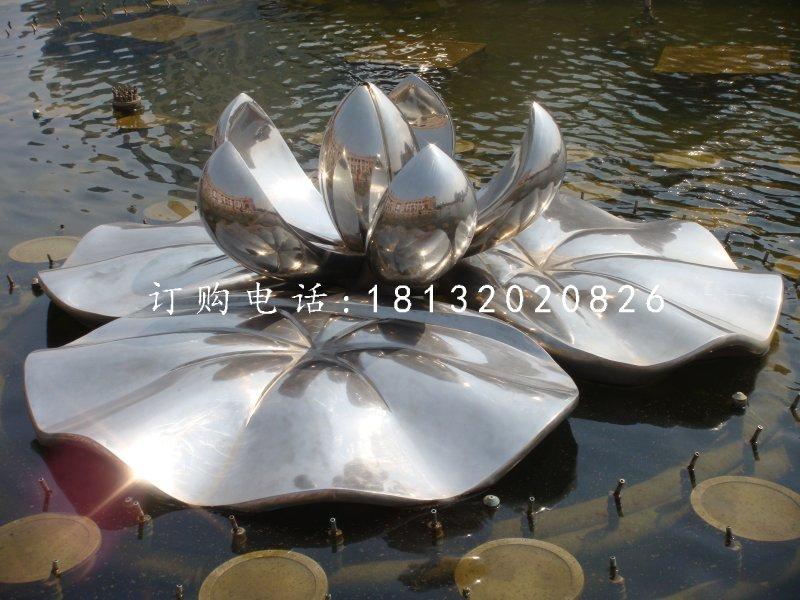 盛开的莲花雕塑,不锈钢景观雕塑