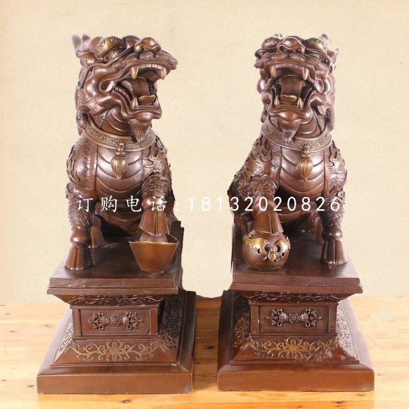 踩球麒麟铜雕,古代神兽铜雕