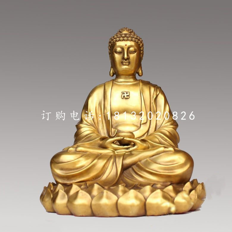 坐式如来佛铜雕,寺庙佛