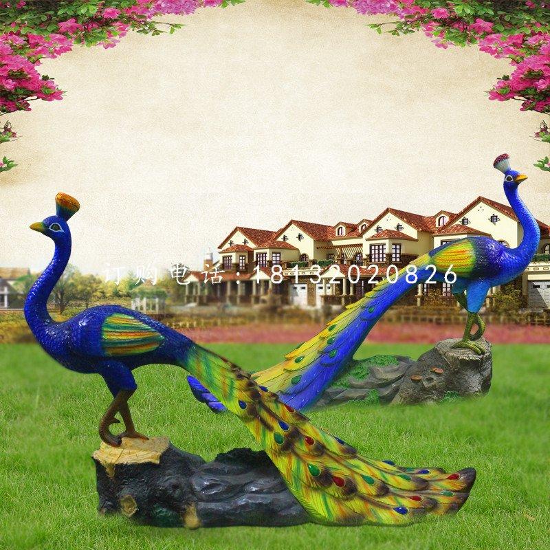 仿真孔雀雕塑,玻璃钢仿真动物雕塑