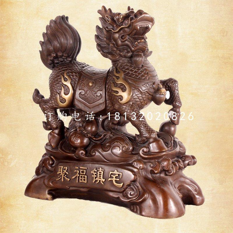聚福镇宅麒麟铜雕,门口麒麟铜雕