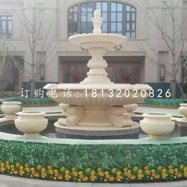 双层喷泉石雕,别墅喷泉雕塑