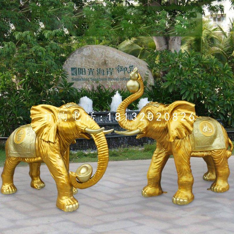 招财吉祥大象雕塑,玻璃钢