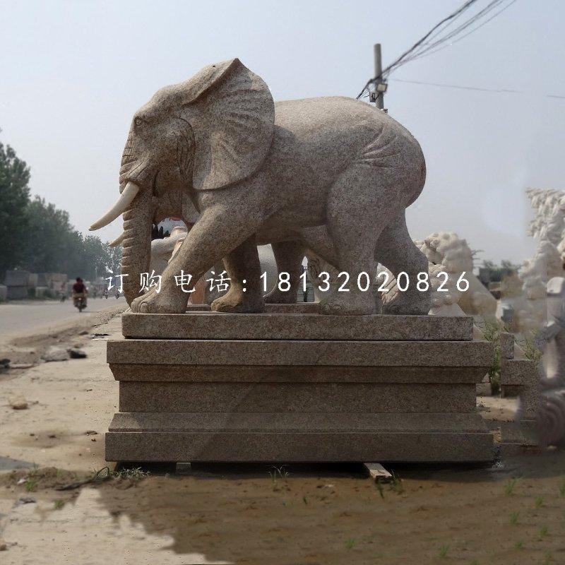 花岗岩大象雕塑门口大象石雕
