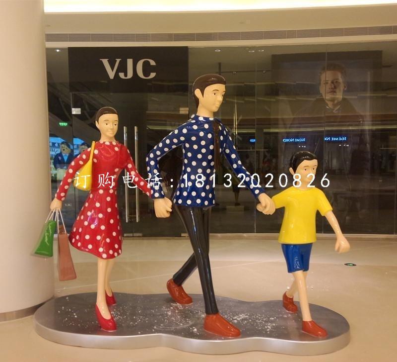 逛街的人物雕塑,玻璃钢仿真人物