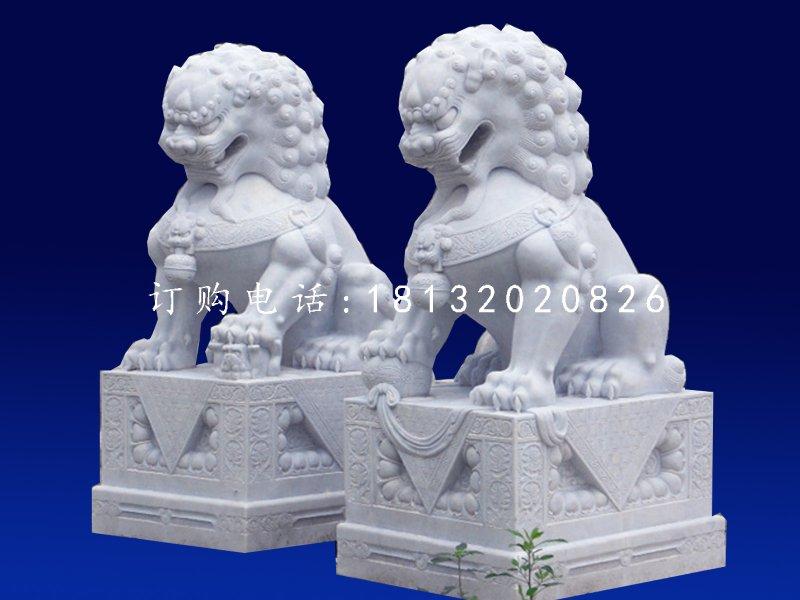 北京狮石雕,汉白玉看门石雕