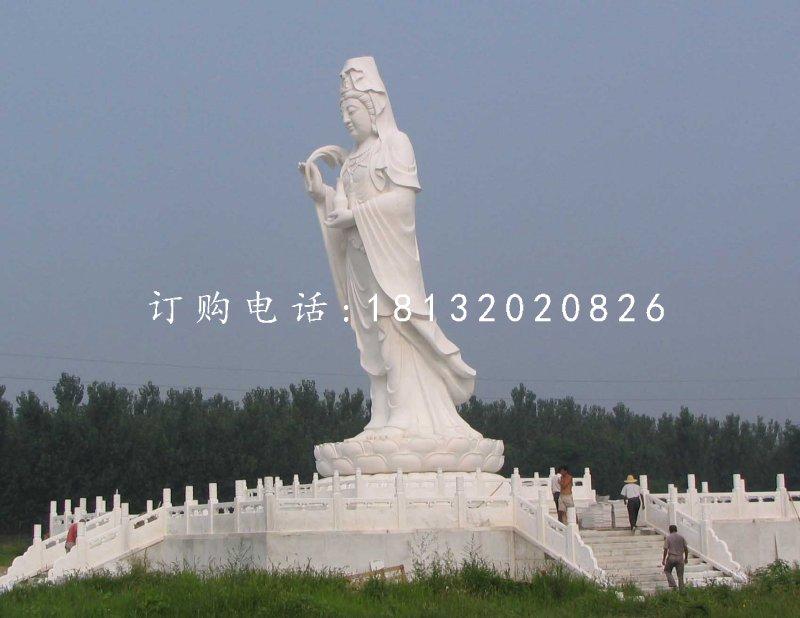 立式观音石雕,汉白玉佛像石雕