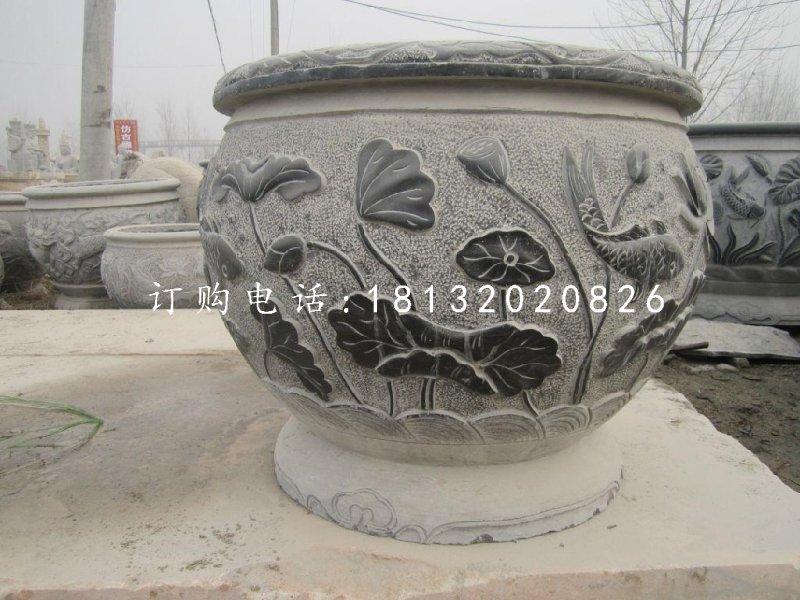 荷花鲤鱼石浮雕水缸,青石仿古水缸