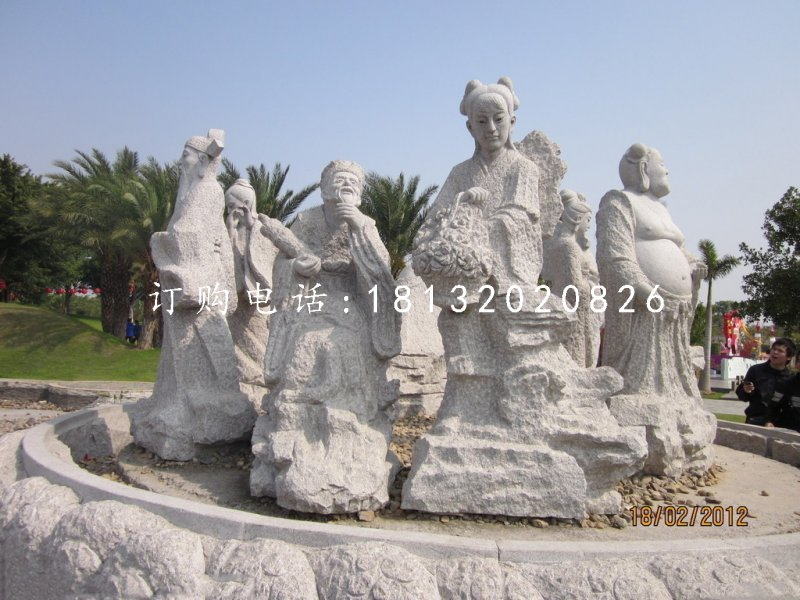 大理石八仙雕塑,石雕神