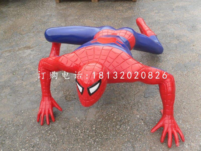 蜘蛛侠雕塑,玻璃钢仿真电影人物雕塑