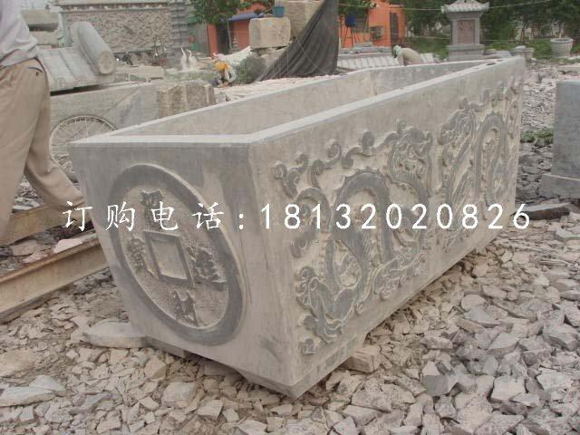 双龙戏珠石浮雕水缸 仿古水缸石雕