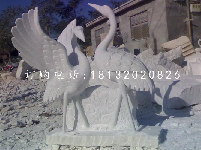 大理石仙鹤石雕 动物石雕 公园景观石雕