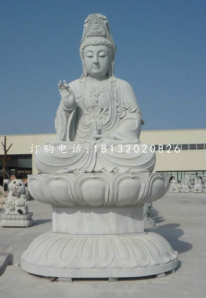 大理石坐式观音菩萨 佛像石雕
