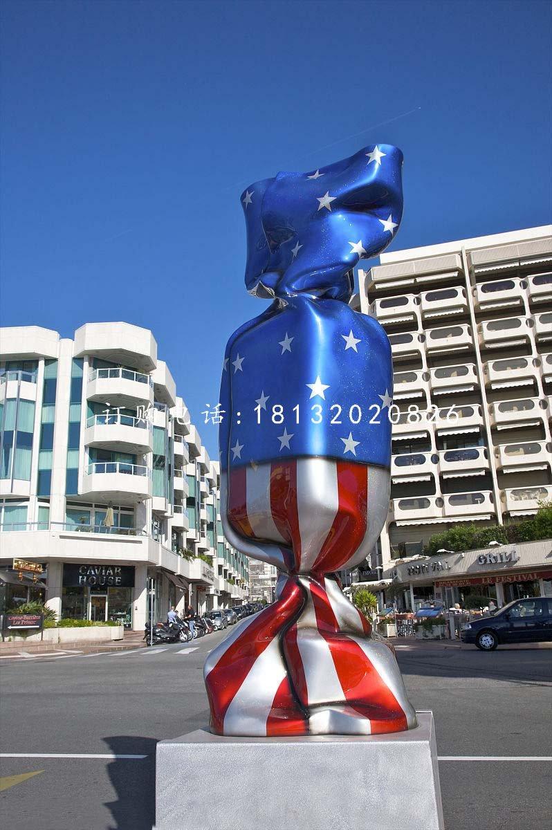玻璃钢彩绘糖果雕塑 街边景观雕塑