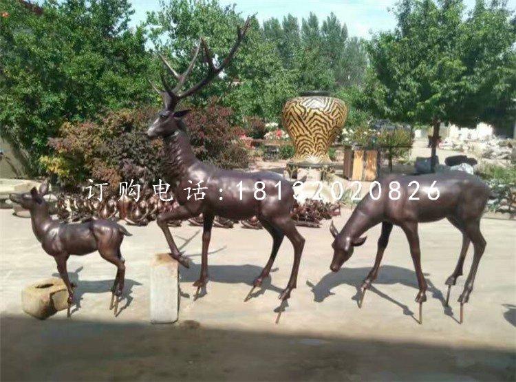 玻璃钢仿铜梅花鹿 公园动物雕塑