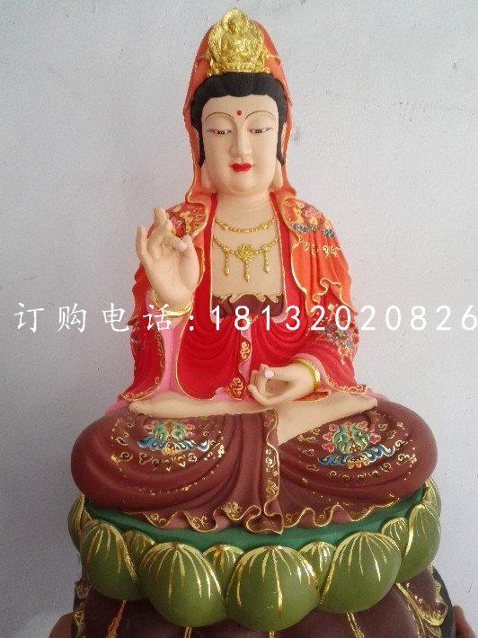 坐式观音菩萨雕塑 玻璃钢彩绘佛像雕塑