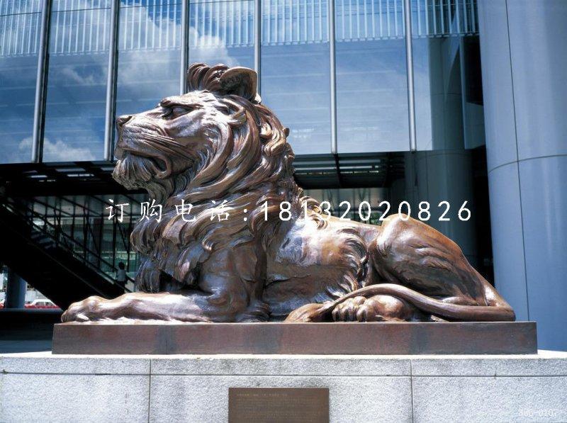 趴着西洋狮铜雕 汇丰狮铜雕