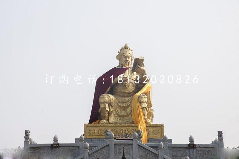 关公读书铜雕 大型坐式铜关公