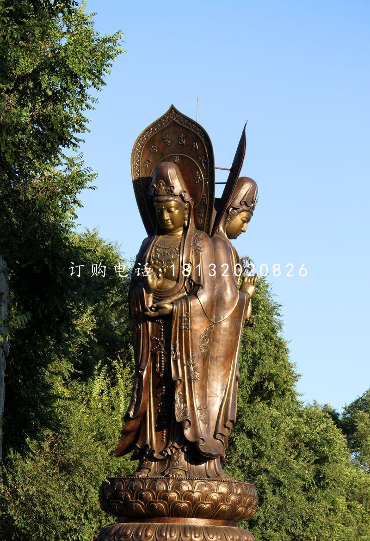 三面观世音菩萨铜雕 立式佛像