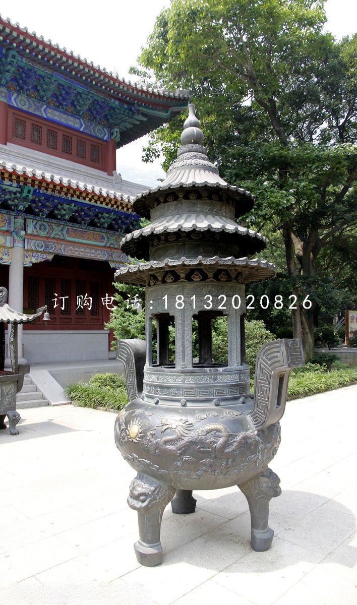 圆形香炉铜雕寺庙三足铜