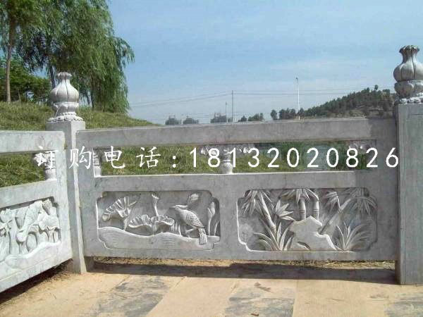 竹子石浮雕栏板 公园石栏板