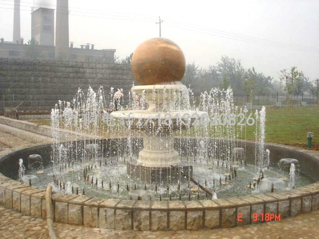 风水球喷泉石雕 景观雕塑