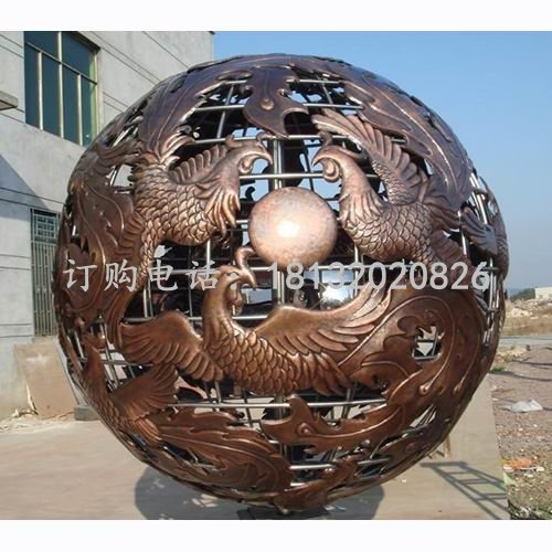 凤凰铜浮雕球 镂空球铜雕