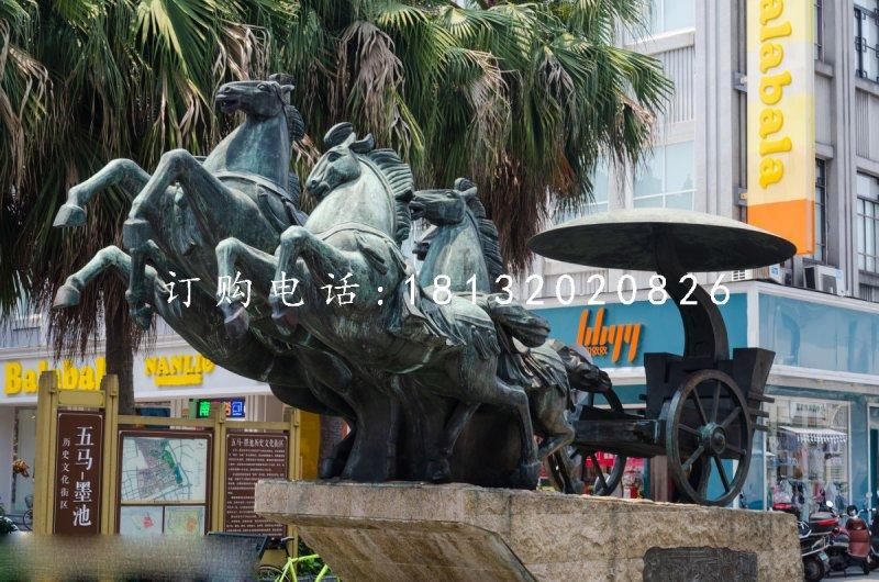 古代青铜马车雕塑街边景