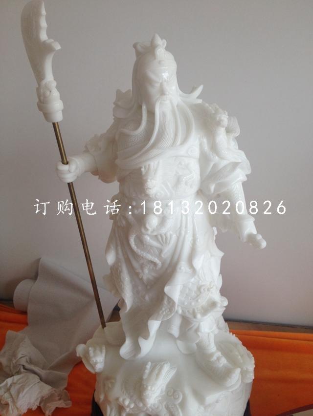 汉白玉武财神雕塑 石雕关公