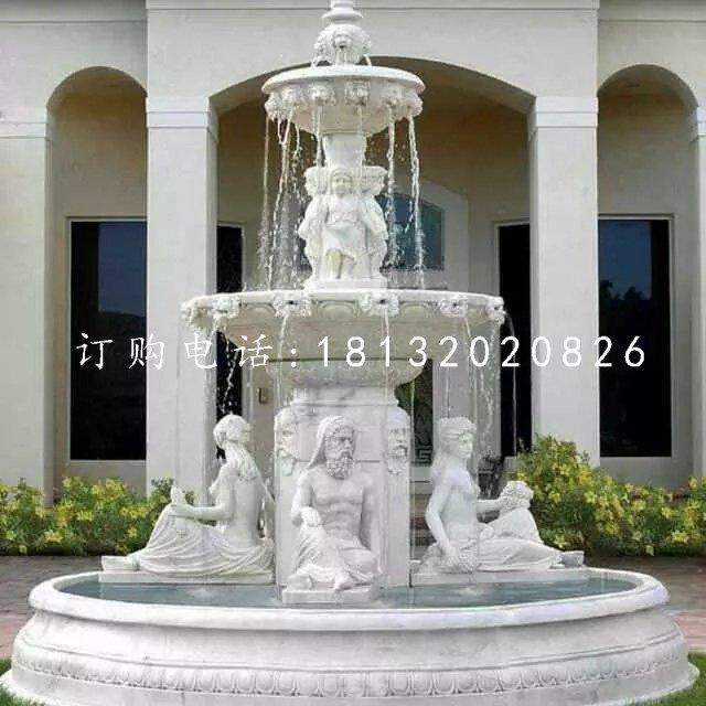 西方人物喷泉石雕 汉白玉欧式喷泉