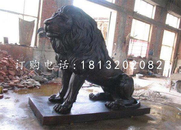 蹲着的西洋狮铜雕银行门